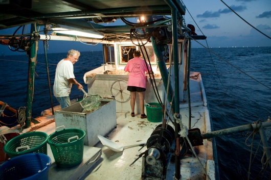 Shrimpers work through the night.