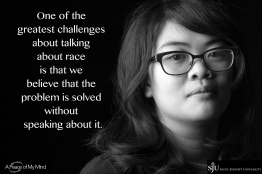 """""""What is the unique opportunity or challenge of talking about race at this moment in history?"""" Photos taken at Saint Joseph's University by A Peace of My Mind."""