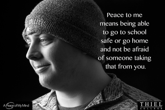 """""""What does peace mean to you?"""" Photos taken by A Peace of My Mind at Thiel College."""